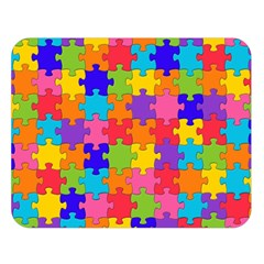 Funny Colorful Jigsaw Puzzle Double Sided Flano Blanket (large)