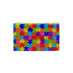 Funny Colorful Jigsaw Puzzle Cosmetic Bag (xs)