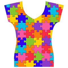 Funny Colorful Jigsaw Puzzle Women s V-Neck Cap Sleeve Top