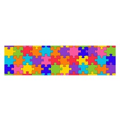 Funny Colorful Jigsaw Puzzle Satin Scarf (oblong)