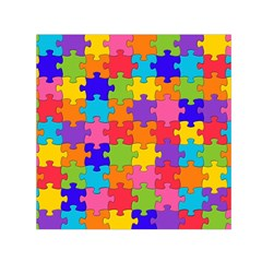 Funny Colorful Jigsaw Puzzle Small Satin Scarf (square)
