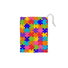 Funny Colorful Jigsaw Puzzle Drawstring Pouches (XS)