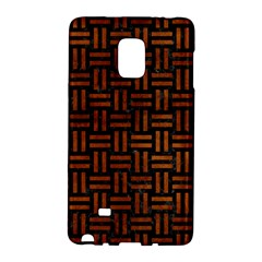 Woven1 Black Marble & Brown Burl Wood Samsung Galaxy Note Edge Hardshell Case