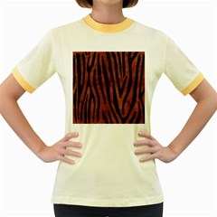 Skin4 Black Marble & Brown Burl Wood Women s Fitted Ringer T Shirt