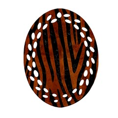 Skin4 Black Marble & Brown Burl Wood Oval Filigree Ornament (two Sides)