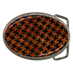 Houndstooth2 Black Marble & Brown Burl Wood Belt Buckle