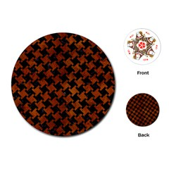 Houndstooth2 Black Marble & Brown Burl Wood Playing Cards (round)