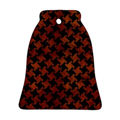 Houndstooth2 Black Marble & Brown Burl Wood Bell Ornament (two Sides)