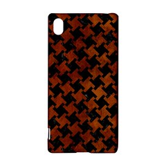 Houndstooth2 Black Marble & Brown Burl Wood Sony Xperia Z3+ Hardshell Case