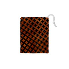 Houndstooth2 Black Marble & Brown Burl Wood Drawstring Pouch (xs)