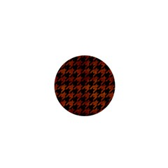 Houndstooth1 Black Marble & Brown Burl Wood 1  Mini Button