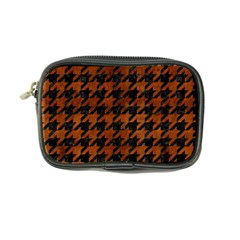 Houndstooth1 Black Marble & Brown Burl Wood Coin Purse