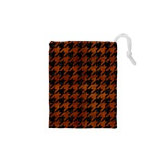 Houndstooth1 Black Marble & Brown Burl Wood Drawstring Pouch (xs)