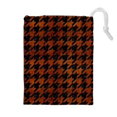 Houndstooth1 Black Marble & Brown Burl Wood Drawstring Pouch (xl)