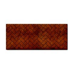 Brick2 Black Marble & Brown Burl Wood (r) Hand Towel