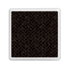 Brick2 Black Marble & Brown Burl Wood Memory Card Reader (square)