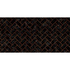 Brick2 Black Marble & Brown Burl Wood You Are Invited 3d Greeting Card (8x4)