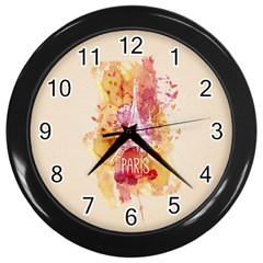 Paris With Watercolor Wall Clocks (Black)