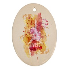 Paris With Watercolor Oval Ornament (Two Sides)