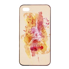 Paris With Watercolor Apple iPhone 4/4s Seamless Case (Black)