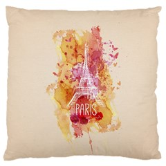 Paris With Watercolor Large Cushion Case (One Side)