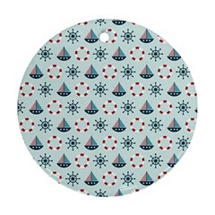Nautical Elements Pattern Ornament (Round)