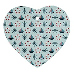Nautical Elements Pattern Ornament (Heart)