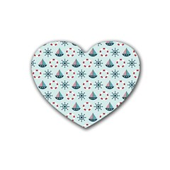 Nautical Elements Pattern Rubber Coaster (Heart)