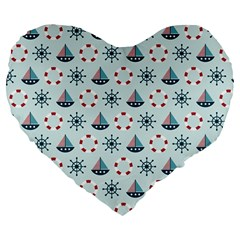 Nautical Elements Pattern Large 19  Premium Flano Heart Shape Cushions