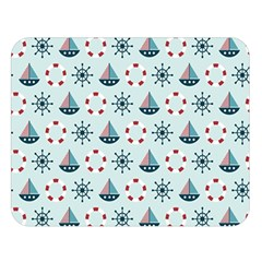 Nautical Elements Pattern Double Sided Flano Blanket (large)