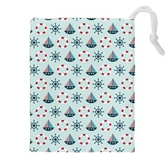 Nautical Elements Pattern Drawstring Pouches (XXL)