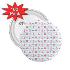 Seamless Nautical Pattern 2.25  Buttons (100 pack)
