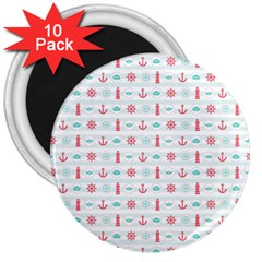 Seamless Nautical Pattern 3  Magnets (10 pack)