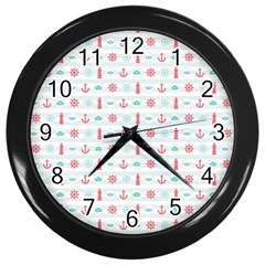Seamless Nautical Pattern Wall Clocks (Black)