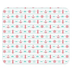 Seamless Nautical Pattern Double Sided Flano Blanket (Small)