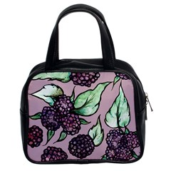 Black Raspberry Fruit Purple Pattern Classic Handbags (2 Sides)