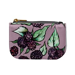 Black Raspberry Fruit Purple Pattern Mini Coin Purses