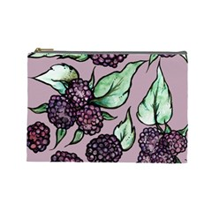 Black Raspberry Fruit Purple Pattern Cosmetic Bag (Large)