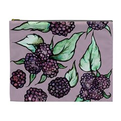 Black Raspberry Fruit Purple Pattern Cosmetic Bag (XL)