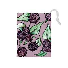 Black Raspberry Fruit Purple Pattern Drawstring Pouches (Medium)
