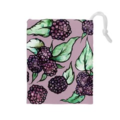 Black Raspberry Fruit Purple Pattern Drawstring Pouches (Large)