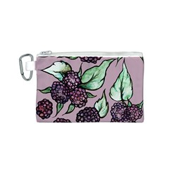 Black Raspberry Fruit Purple Pattern Canvas Cosmetic Bag (S)