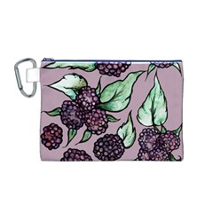 Black Raspberry Fruit Purple Pattern Canvas Cosmetic Bag (m)