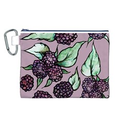 Black Raspberry Fruit Purple Pattern Canvas Cosmetic Bag (l)