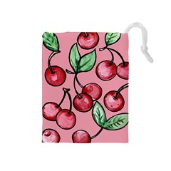 Cherry Pattern Drawstring Pouches (Medium)