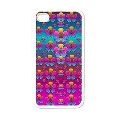 Freedom Peace Flowers Raining In Rainbows Apple Iphone 4 Case (white)