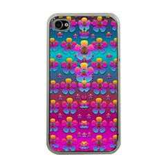 Freedom Peace Flowers Raining In Rainbows Apple iPhone 4 Case (Clear)