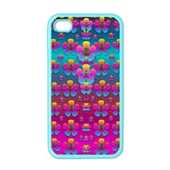 Freedom Peace Flowers Raining In Rainbows Apple Iphone 4 Case (color)