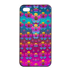 Freedom Peace Flowers Raining In Rainbows Apple iPhone 4/4s Seamless Case (Black)