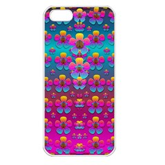 Freedom Peace Flowers Raining In Rainbows Apple iPhone 5 Seamless Case (White)